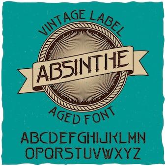 Carattere dell'etichetta dell'assenzio e design dell'etichetta campione con decorazione.