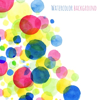 Abstact background, watercolor painted round splashes colorful greeting card vector design sample