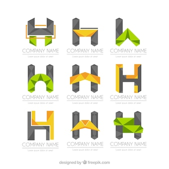 Abstact letter h logo collection