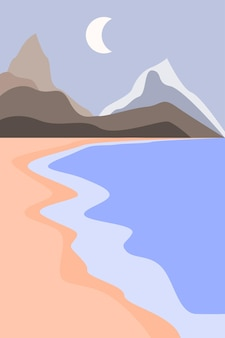 Abstarct 최소한의 바다 풍경 배경 현대 boho 예술 컬러 평면 벡터 일러스트 레이 션