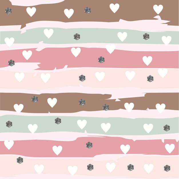 Abstarct striped pattern with hearts and glittery hexagon