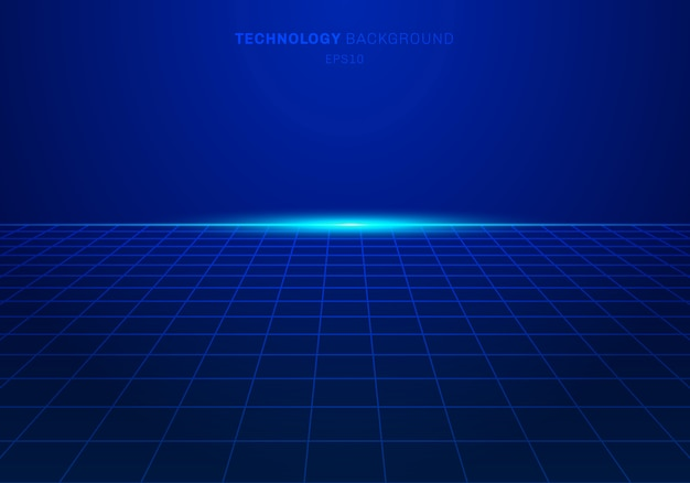 Abstrac digital technology square grid pattern blue background