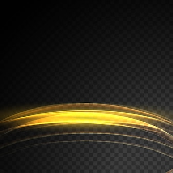 Abstrac glowing transparent golden light effect wave background