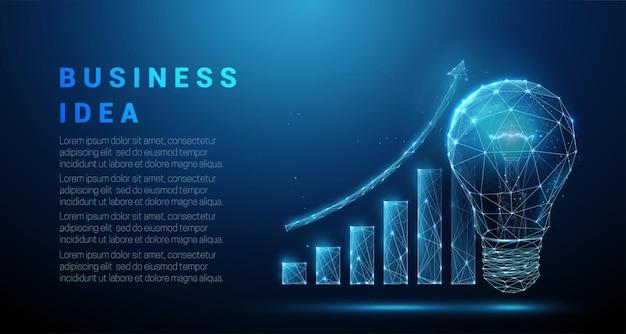 Abstracのトライト電球とグラフが成長しています。低ポリスタイルのデザイン。起業アイデアのコンセプト。青い幾何学的な背景。ワイヤーフレームライト接続構造。 。
