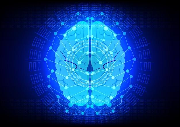 Abstrack brain digital technology on blue backgrond