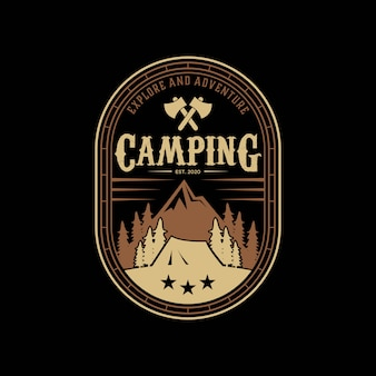 Abstrack camping, explore, adventure mountain vintage logo design template