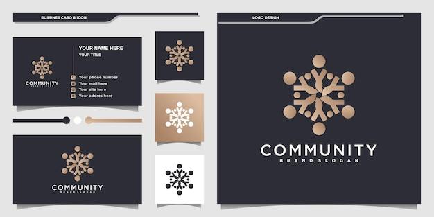 Дизайн логотипа сообщества abstrack с золотым цветом и визитной карточкой премиум вектор