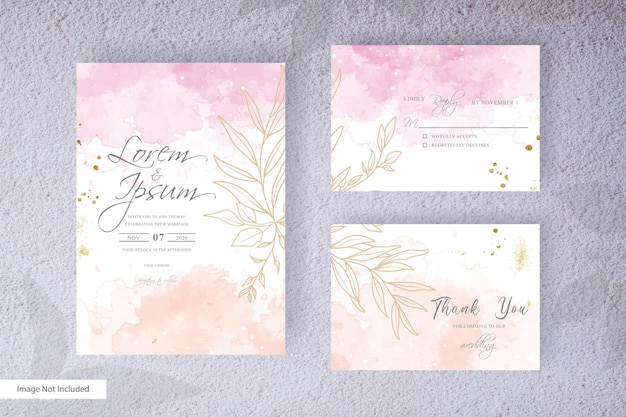 Abstrack wedding invitation card set template with colorful hand painted liquid watercolor