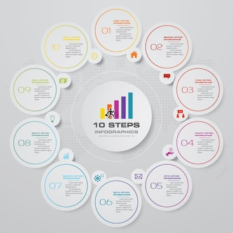 Abstract 10 steps cycle chart infographics elements.