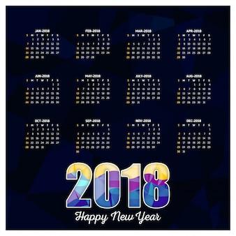 Abstract 2018 calendar template