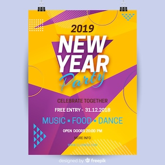 Abstract 2019 new year party banner