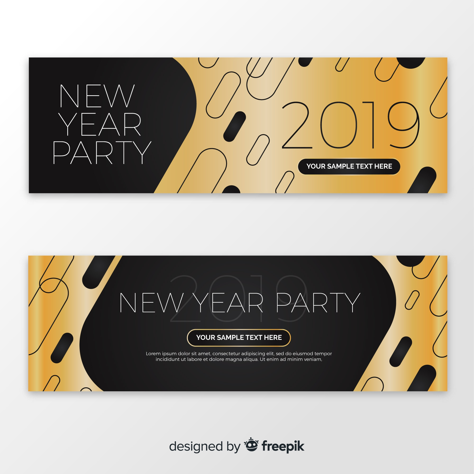Abstract 2019 new year party banners