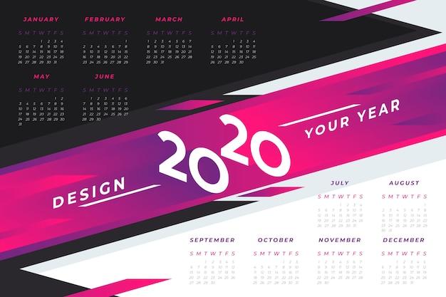 Abstract 2020 calendar template