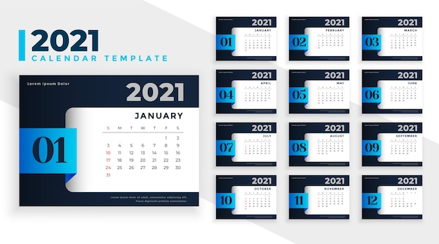 Abstract 2021 business calendar design template in black and blue colors