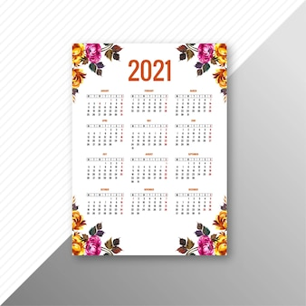 装飾的な花のテンプレートの抽象的な2021年カレンダー