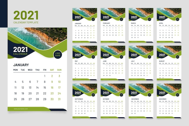 Abstract 2021 calendar template with photo