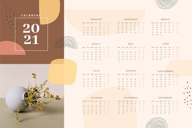 写真付きの抽象的な2021年カレンダーテンプレート