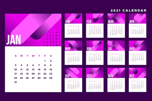 Шаблон календаря на 2021 год