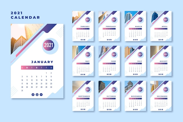 Abstract 2021 calendar template