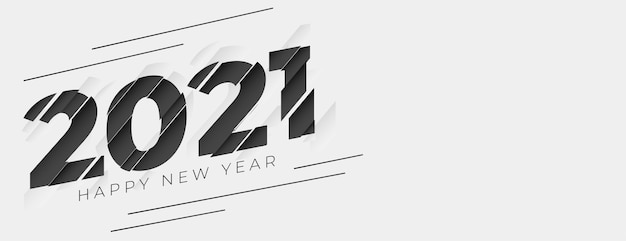 Abstract 2021 happy new year banner in papercut style