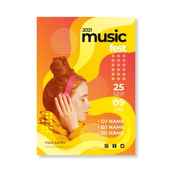 Абстрактный 2021 шаблон музыкального плаката