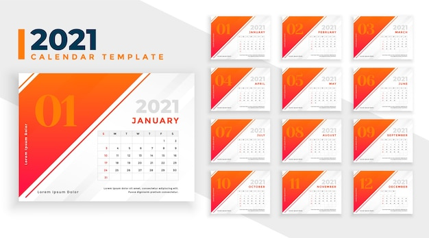 Abstract 2021 new year calendar template in orange color