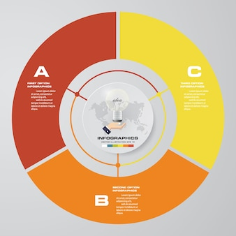 Abstract 3 steps cycle chart infographics elements.
