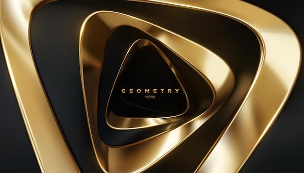검은 색과 황금색 트위스트 삼각형 모양으로 추상적 인 3d 배경
