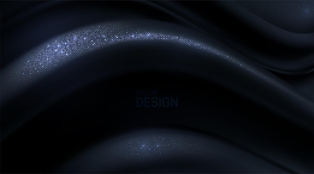 Abstract 3d background with black curvy wave shape with silver glitters