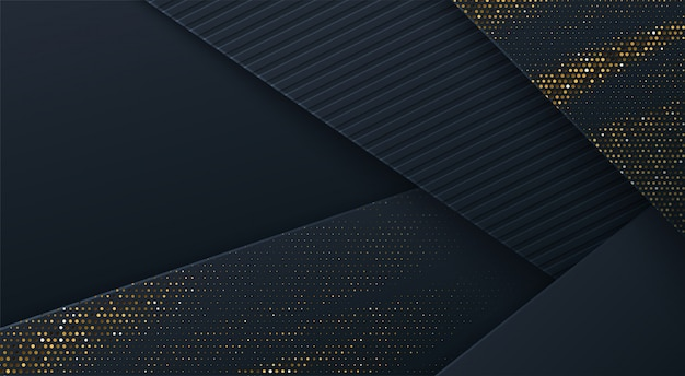 Abstract 3d background with black paper layers.  geometric illustration of carbon sliced shapes textured with golden glittering dots. graphic design element.