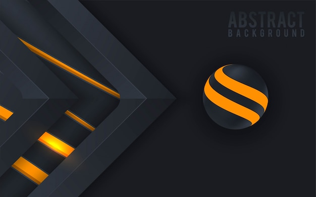 Abstract 3d background with colorful sphere and black paper cut.