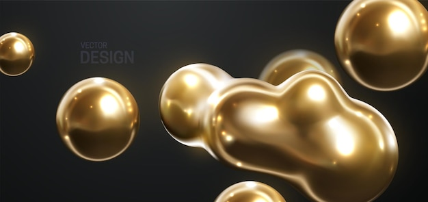 Abstract 3d background with flowing organic gold shapes
