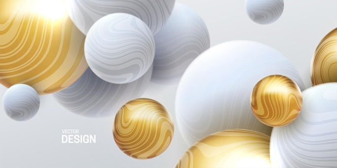 抽象的三维背景与大理石白色和金色流动的球体
