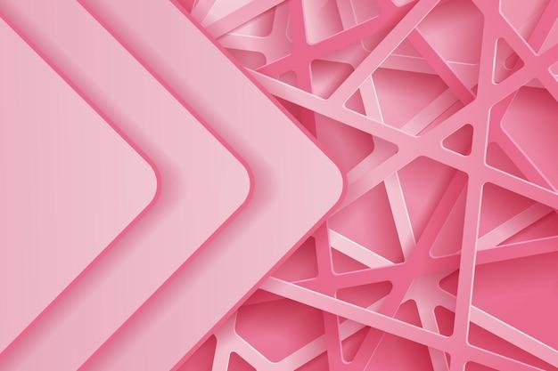 분홍색 종이 컷으로 추상 3d 배경입니다. 기하학적 모양으로 질감이 있는 추상 현실적인 종이 컷 장식