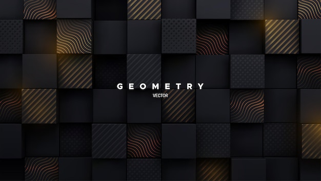 Abstract 3d background with random black mosaic square shapes with engraved gold patterns