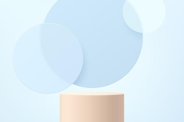 파란색 원 유리 겹침 레이어 배경이 있는 추상 3d 베이지색 실린더 받침대 또는 스탠드 연단