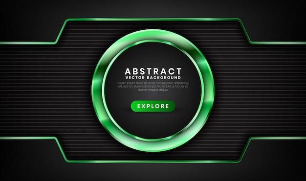 Абстрактный 3d черный и зеленый роскошный фон со световым эффектом