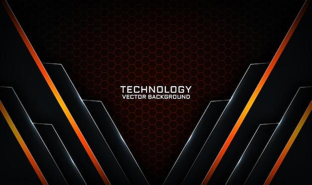 明るい線の効果を持つ抽象的な3d黒とオレンジの技術の背景オーバーラップレイヤー