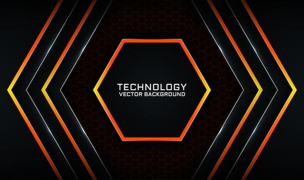 明るい線の効果を持つ抽象的な3d黒とオレンジの技術の背景オーバーラップレイヤー Premiumベクター