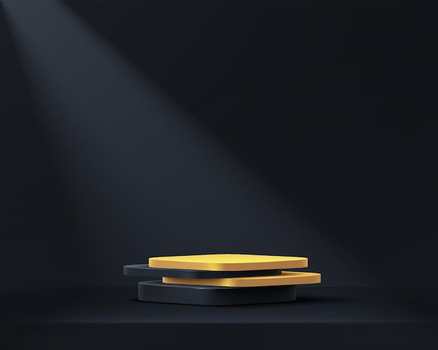 Abstract 3d black gold cube pedestal podium in black empty room