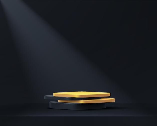 黒の空の部屋で抽象的な3dブラックゴールドキューブ台座表彰台