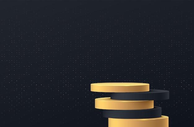 추상 3d 블랙 골드 실린더 받침대 연단은 그림자 및 황금 반짝이 벽 장면과 겹칩니다.