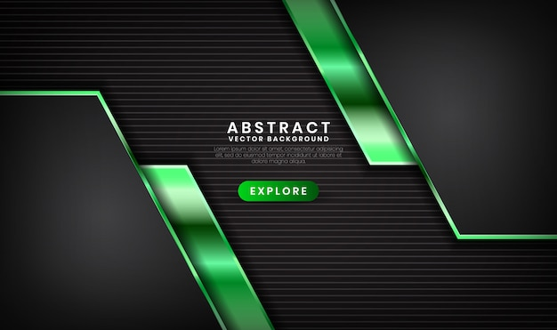 Abstract 3d black and green luxury background with light effect