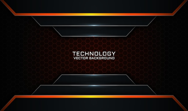 Abstract 3d black and orange technology background overlap layer with light lines effect