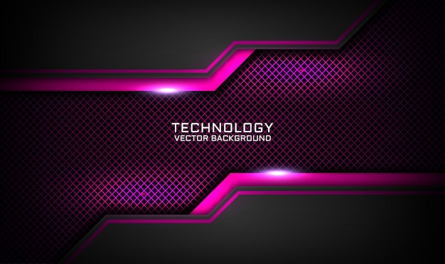 Abstract 3d black and pink technology background, overlap layer with light effect