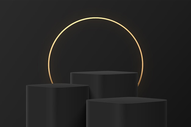 Abstract 3d black steps round corner cube pedestal or stand podium with luxury glowing golden ring