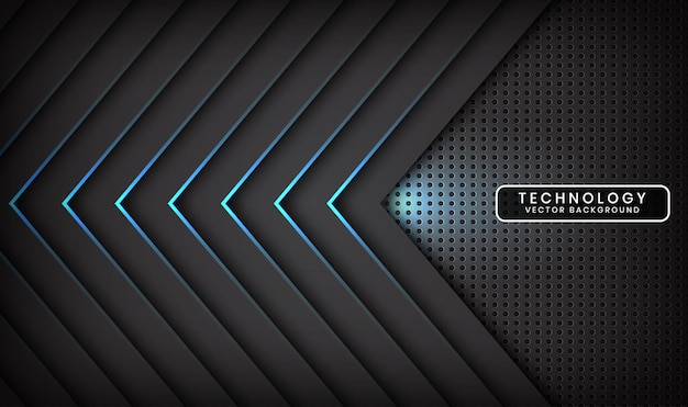Abstract 3d black technology background overlap layer with blue light arrow effect
