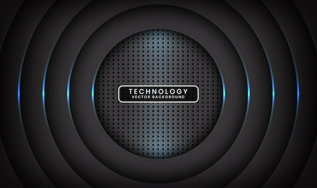 Abstract 3d black technology background overlap layer with blue light circle effect