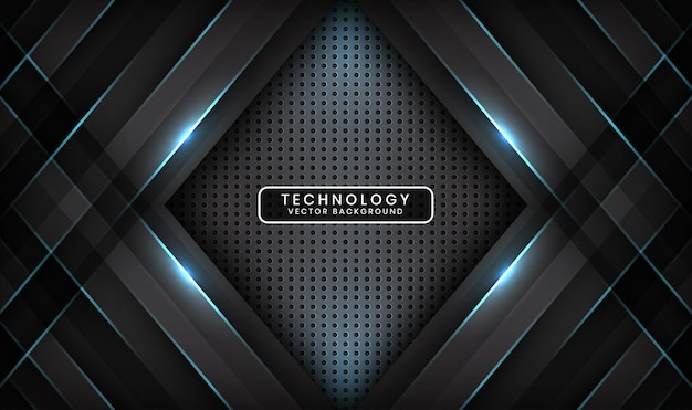 Abstract 3d black technology background overlap layer with blue light line effect