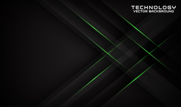 Abstract 3d black technology background overlap layer with geometric green lines effect